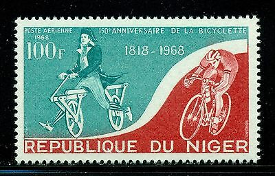 NIGER, SC C 88, 1968 Airmail issue, first bicycles. MNH.