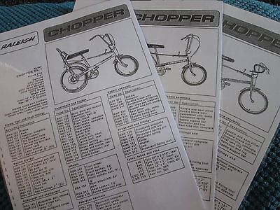 Use Raleigh Chopper Part Lists Laminated Photo Copy Repro Rare For Info Off Them