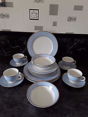 Royal Doulton 20 piece dinner service by Bruce Oldfield Pale Blue/Gold/White