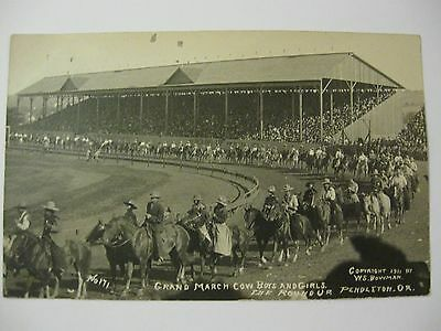 Rppc  Pendleton Cowboy  Cowgirls Grand March Round Up  Indian Let Er Buck #15