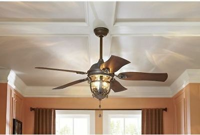 """52"""" Ceiling Fan with Light Kit Aged Iron Outdoor Indoor Downrod or Flush Mount"""
