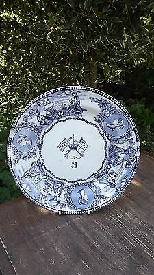 VINTAGE ROYAL NAVY VICTORIAN MESS PLATE NO 3 Blue & White