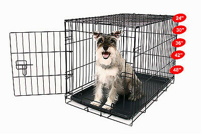 5 Sizes Dog Cage Crates Cages Puppy Pet Carrier Training  Carrier  w/ABS tray