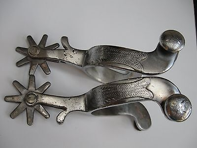 NICE Vintage Iron Crockett Fish Spurs Cowboy horse Cowgirl Outside Marked