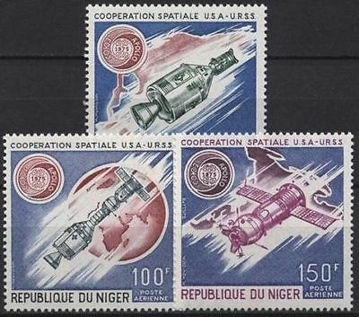 NIGER, SC C 248-250, 1975 USA/USSR Space Cooperation issue. MNH.
