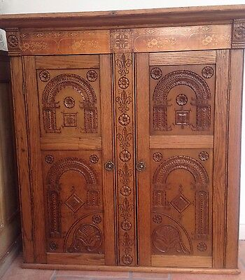 Gorgeous antique carved panel wall cabinet cupboard