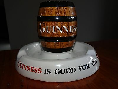 Antique Guinness Beer Advertising Barrel Match Box Holder Ashtray - Ex Condition