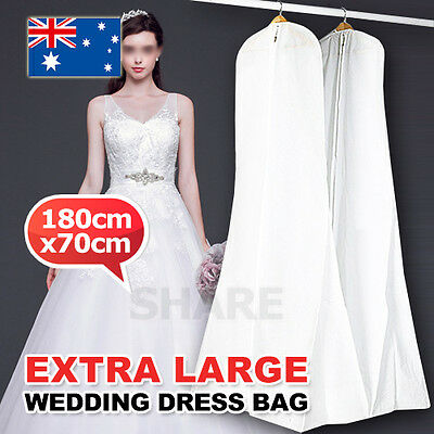 White Extra Large Wedding Dress Bridal Gown Garment Breathable Cover Storage Bag