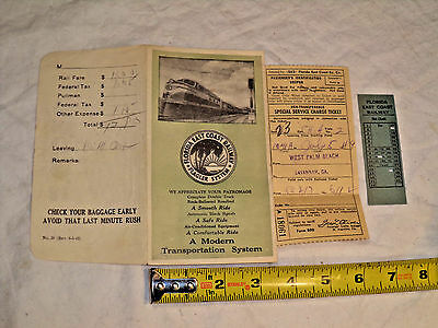 Florida East Coast Railway Flagler System 1949 Tickets and paper envelope