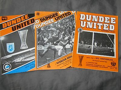 3 Dundee United Uefa Cup Programmes