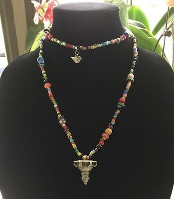 Beautiful Ethnic Venetian Glass Trade Bead Necklace .E50