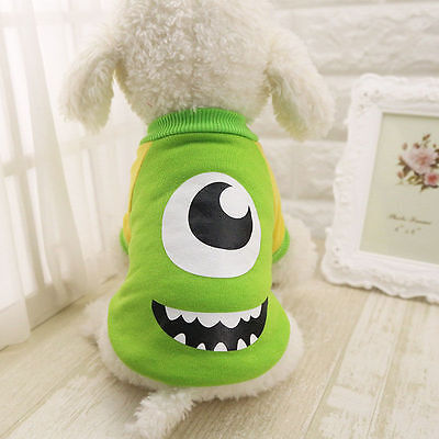 Cartoon Pet Dog Puppy Cat Sweater Shirt Cotton Breathable Coat Clothes Yellow M