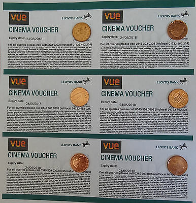 Six Vue Cinema Tickets, Expiry May 2018