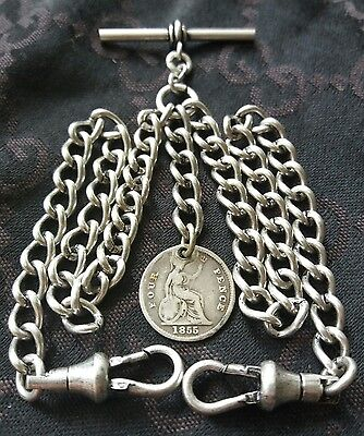 1855 Victoria Fourpence Coin Fob Antique Silver Style Double Pocket Watch Chain