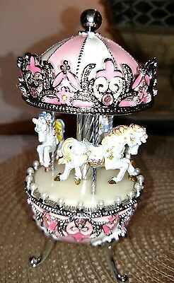 Pink Faberge Egg with Musical Horse Carousel