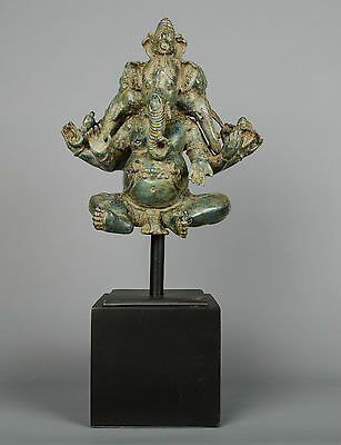 Large Bronze Big Seated Panchamuhkti Ganapati Ganesha Statue - 56cm/22.5""