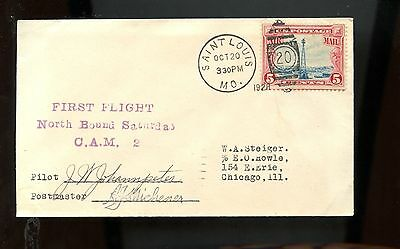 US FFC First Flight Cover SIGNED BY PILOT & PM 1928 St Louis, Missouri via CAM 2