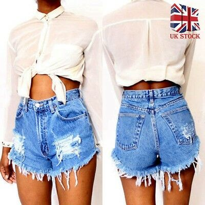 Ladies Vintage Ripped High Waisted Stonewash Denim Shorts Jeans Womens Hot Pants