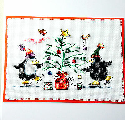 "Completed Cross Stitch Christmas Card Large 8 x 8""  Penguins Around The Tree"