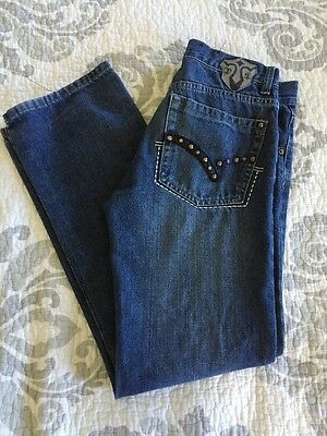 Kids Girls PACO JEANS DENIM & CO Straight Leg Embroidered Blue Pant sz 14
