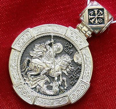 Big Orthodox Russian Greek Pendant-Saint George Greatmartyr Warrior Silver 925