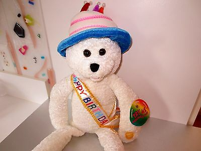"""Happy Birthday Bear 22"""" Chenille Animated Sings Candles Light Up  Tags  Lot B2"""