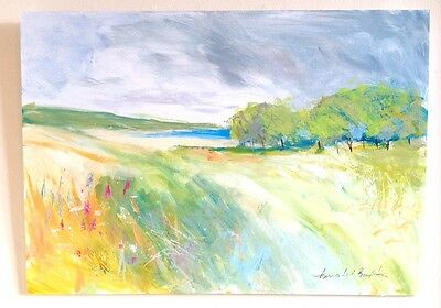 Signed Original Acrylic Painting- Distant Sea- by Annabel Burton