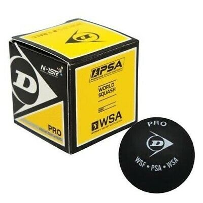 6X Dunlop Squash Balls Pro Double Dot Yellow The Official Ball ofthe WSF,PSA,WSA