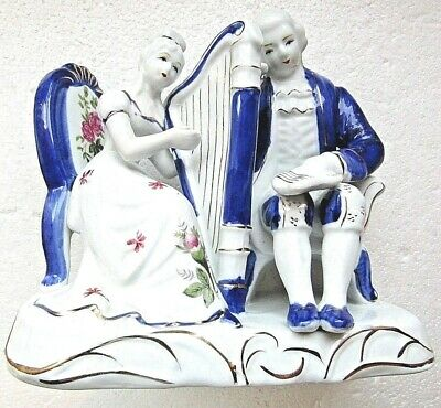 Victorian Couple Flow Blue Large Figurine Vgc