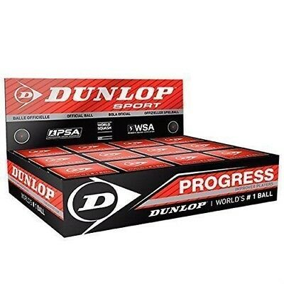 6X Dunlop Squash Balls Progress Red The Official Sports Ball of the WSF,PSA, WSA