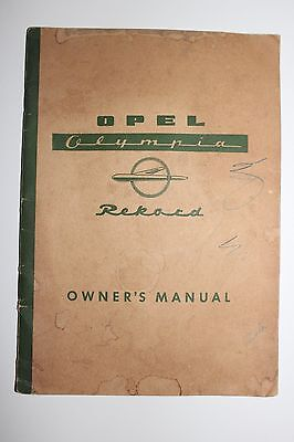 Vintage 1957 Opel Olympia Rekord Car Owners Manual