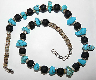 """Turquoise And Shell Vintage Necklace 16"""" - Beautiful Piece *rare*"""