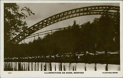 BEDFORD Suspension Bridge Postcard BEDFORDSHIRE Valentine's Series