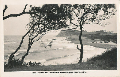 "FORSTER, NSW,  Real Photo Postcard "" GLIMPSE OF BENNETT;S HEAD"".  Murray."