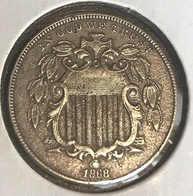 1868 Shield Nickel With Details About Very  Fine T-19