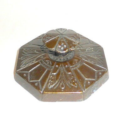 """Antique Art Nouveau Flowers Insects and 3"""" Ornate Cast Iron Octagon Paperweight"""
