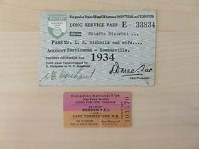 Canadian Pacific Railway and Canadian National Railway vintage tickets
