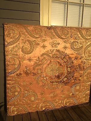 Antique Ottoman  Islamic Prayer Mat Gold Metallic Embroidery Mehrab Panel