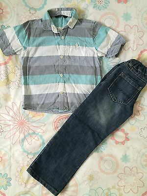 Beautiful Boys Outfit! Short Sleeve Shirt & Jeans! 4-5 Years