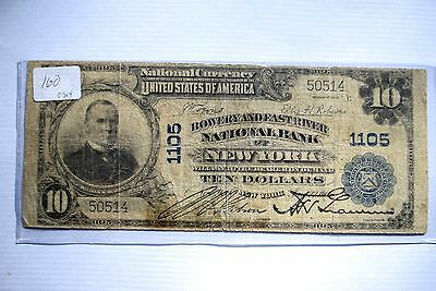 Rare 1902 $10 Bowery And East River Nb Of New York Ch 1105