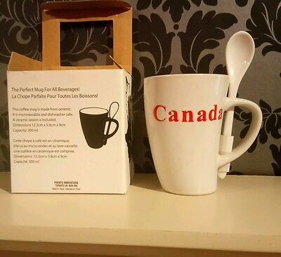 coffee mug from Canada with ceramic spoon, microwavable, dishwasher safe