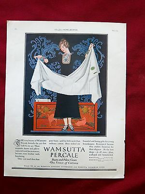 1924 LHJ WAMSUTTA PERCALE SHEETS AND PILLOWCASES - AD by COLES PHILLIPS