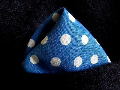 blue pocket square handkerchief hanky. unisex. polkadot. cotton