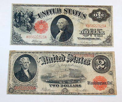 Two 1917 $1 Washington & $2 Jefferson Large Size Notes One & Two Dollar Currency