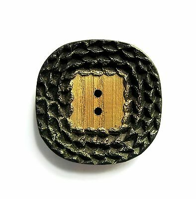 Large Vintage Wood Button with Sculpted Border and Gold Highlights