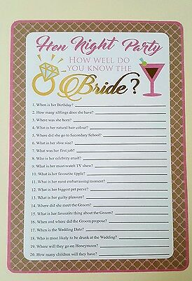 10 x Hen party game quiz how well do you know your bride