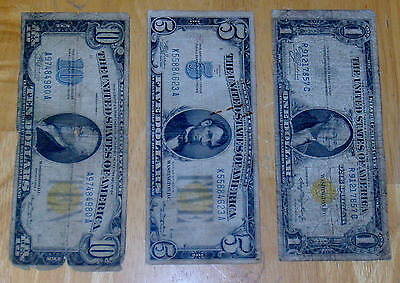Three 1934 & 1935 NORTH AFRICA Yellow Seal WW ll  $1 One $5 Five $10 Ten Dollar