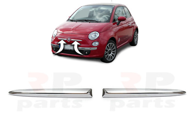 New Fiat 500 Lounge Front Bumper Pair Upper Molding Chrome Right+Left 2007-2014
