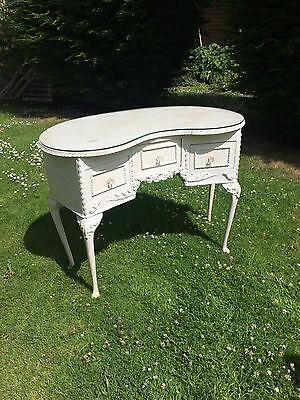 Shabby chic, French romantic style dressing table with original glass topper