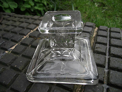 Candlestick - Art Deco Clear Glass- Hermanova Hut ? Shabby Chic Vintage